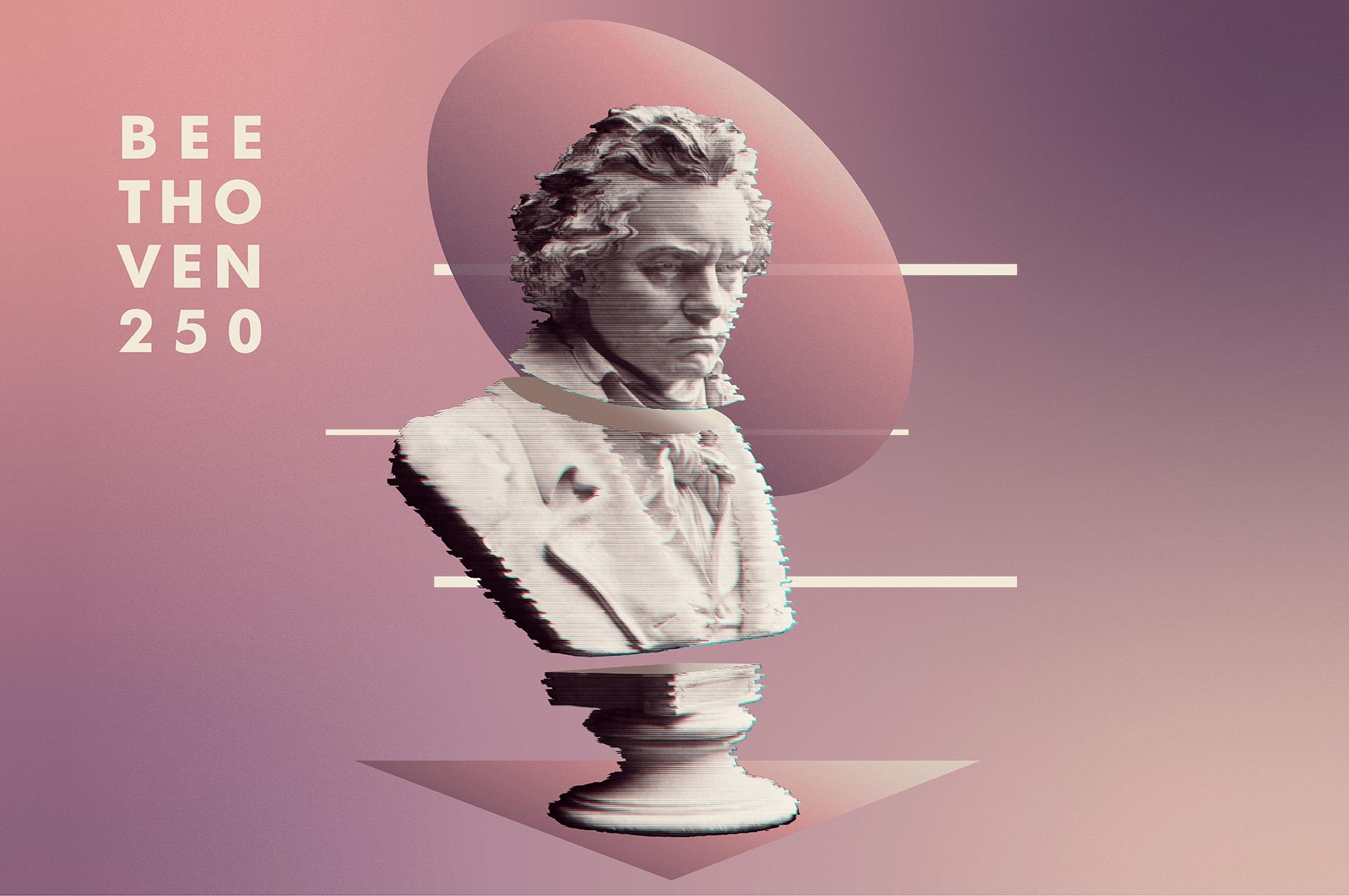 Diseño alusivo 250° aniversario del natalicio de Beethoven